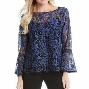 RELATIVITY Lace Sheer Bell Sleeve Blouse Top Black